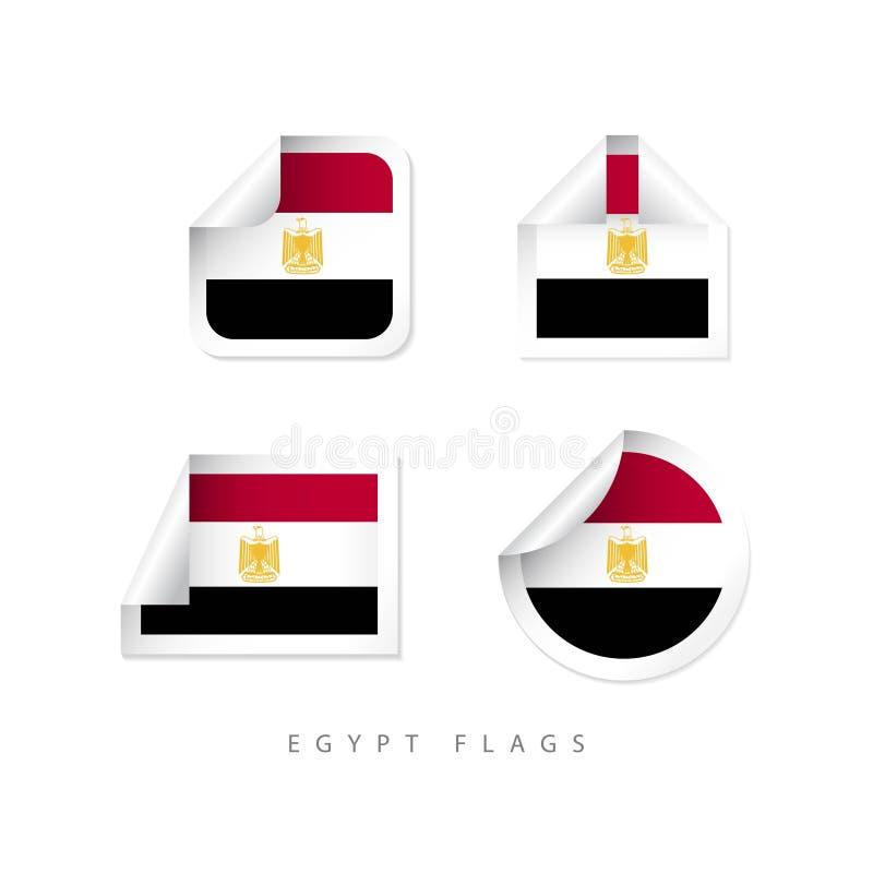 Progettazione del modello di vettore delle bandiere dell'etichetta dell'Egitto illustrazione di stock