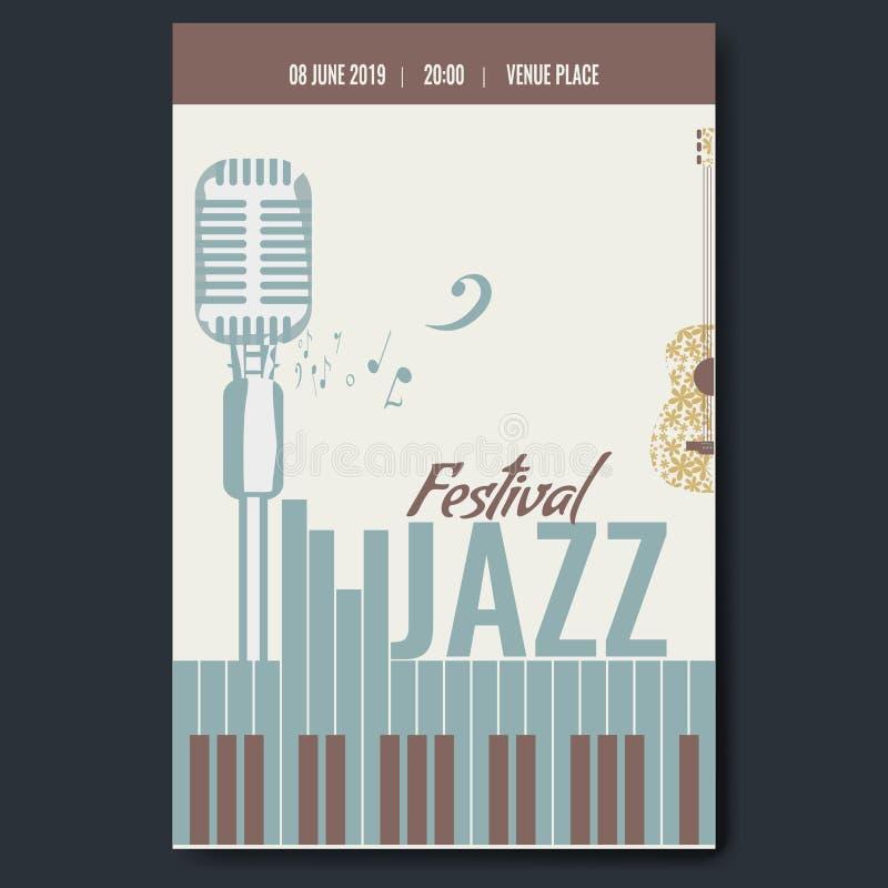 Progettazione del modello del manifesto di concerto di festival di jazz con la retro chitarra d'annata della siluetta del microfo royalty illustrazione gratis