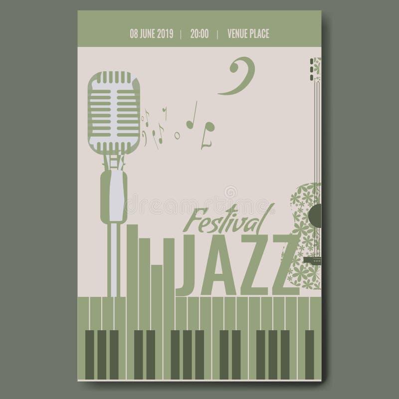 Progettazione del modello del manifesto di concerto di festival di jazz con la retro chitarra d'annata della siluetta del microfo illustrazione di stock