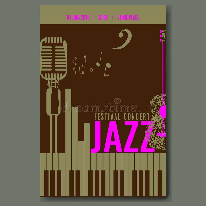 Progettazione del modello del manifesto di concerto di festival di jazz con la retro chitarra d'annata della siluetta del microfo illustrazione vettoriale