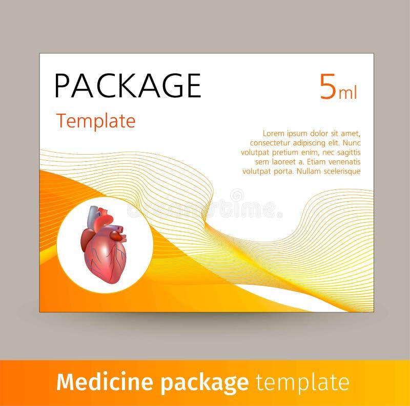 Progettazione del modello del pacchetto della medicina con il cuore realistico dell'organo umano illustrazione di stock