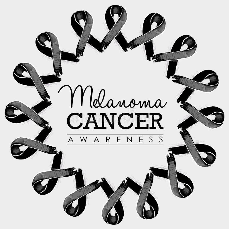 Progettazione del nastro di consapevolezza del cancro del melanoma con testo royalty illustrazione gratis