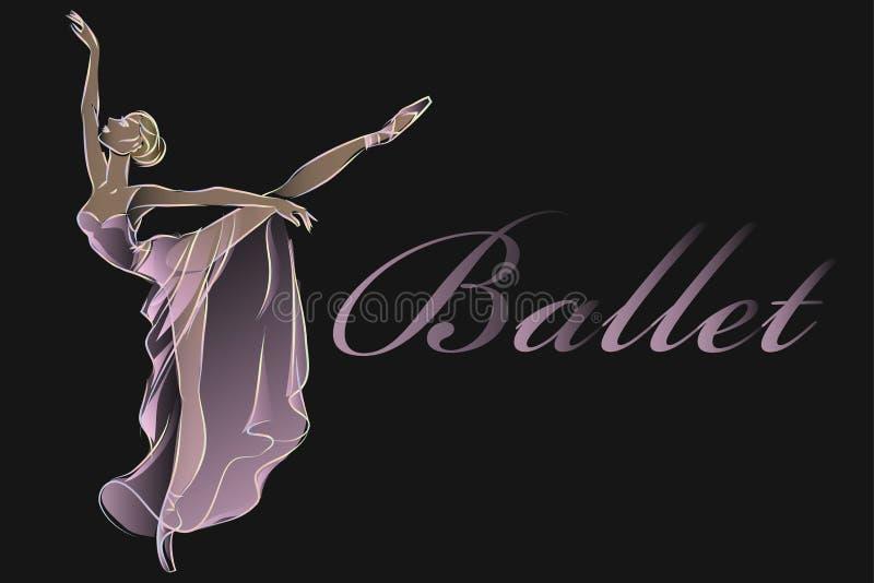Progettazione del nero del modello dell'insegna di modo del ballerino di balletto immagini stock