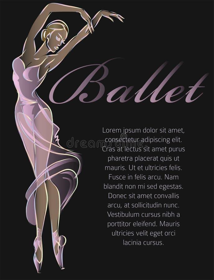 Progettazione del nero del modello dell'insegna di modo del ballerino di balletto immagine stock