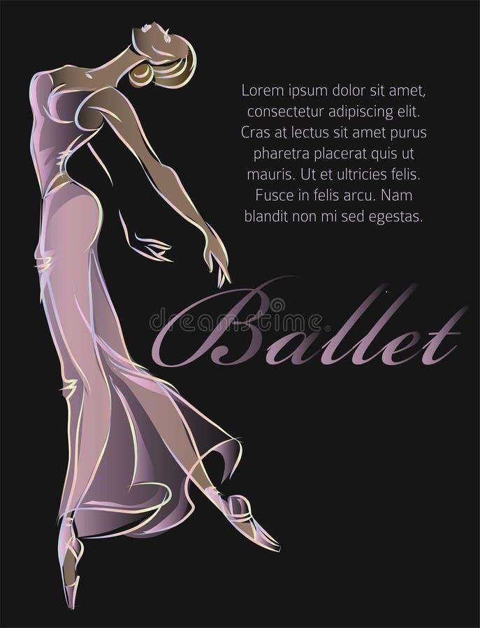 Progettazione del nero del modello dell'insegna di modo del ballerino di balletto immagine stock libera da diritti