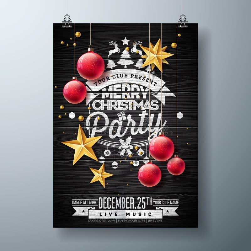 Progettazione del partito di Buon Natale di vettore con gli elementi di tipografia di festa e la palla ornamentale, stella di car illustrazione di stock