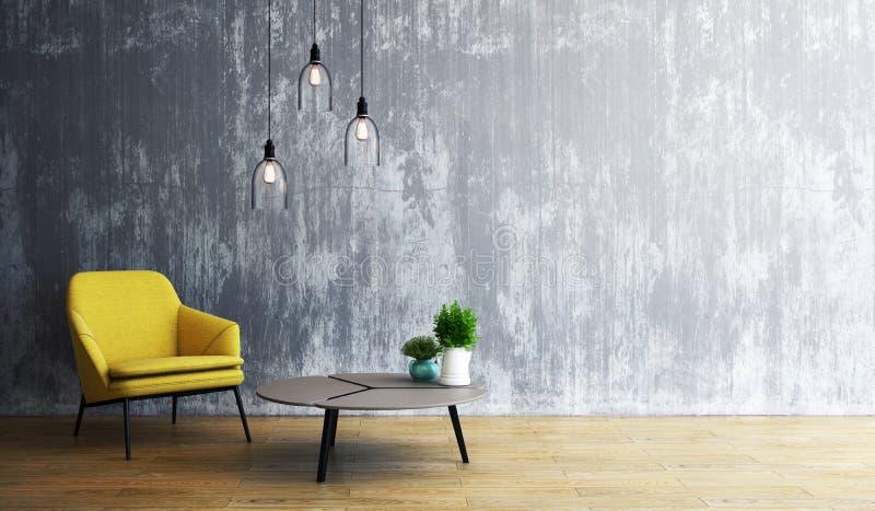 Progettazione del salone, interno di stile moderno del sottotetto, 3d rappresentazione, illustrazione 3d illustrazione di stock
