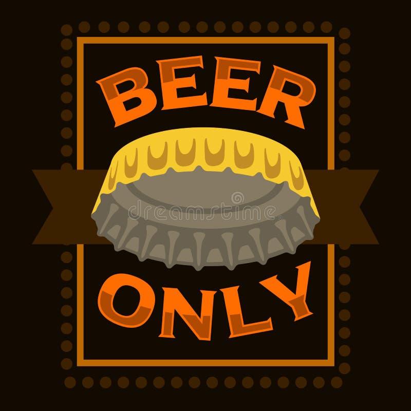 Progettazione del segno dell'etichetta del manifesto della stampa del cappuccio della birra illustrazione vettoriale