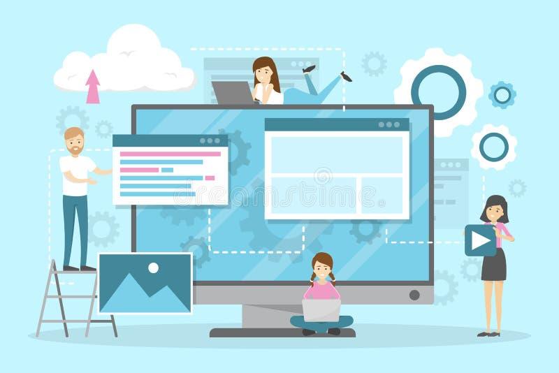 Progettazione del sito Web ed insieme orizzontale dell'insegna di sviluppo illustrazione di stock