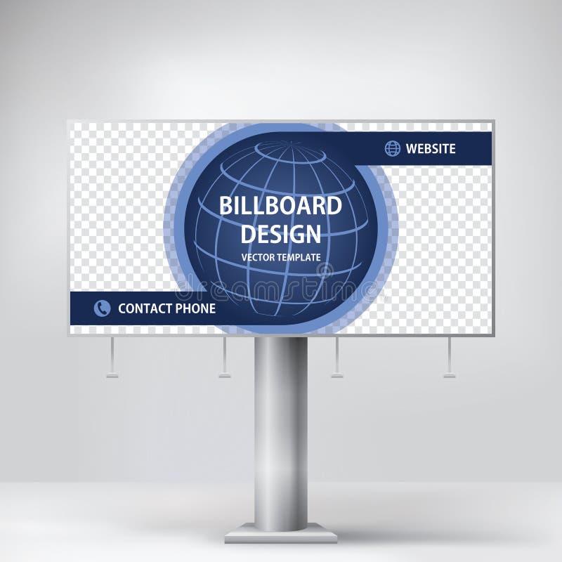 Progettazione del tabellone per le affissioni, insegna del modello per la pubblicità all'aperto, foto di invio e testo Concetto m immagine stock libera da diritti