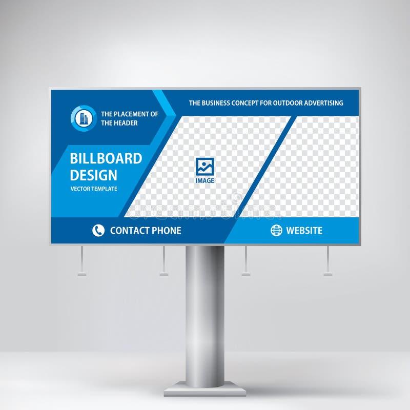 Progettazione del tabellone per le affissioni, insegna del modello per la pubblicità all'aperto, foto di invio e testo Concetto m immagini stock libere da diritti