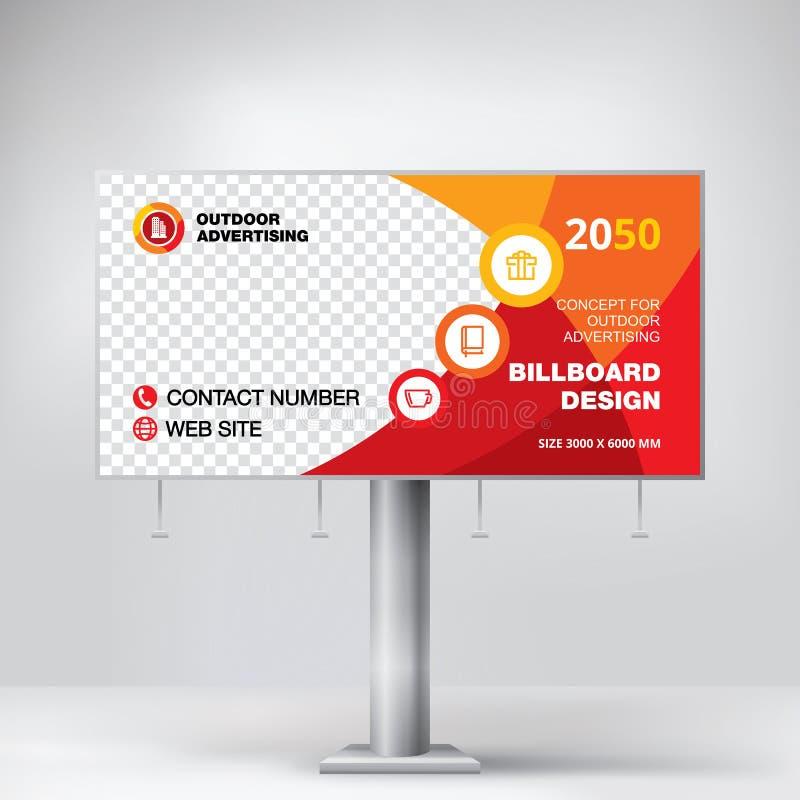 Progettazione del tabellone per le affissioni, insegna del modello per la pubblicità all'aperto, foto di invio e testo Concetto m immagini stock