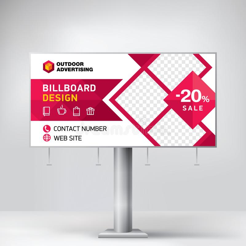 Progettazione del tabellone per le affissioni, modello per la pubblicità all'aperto, foto di invio e testo Concetto moderno di af immagini stock