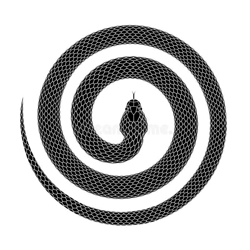 Progettazione del tatuaggio di vettore di un serpente arricciato in una forma a spirale con la testa nel centro illustrazione di stock