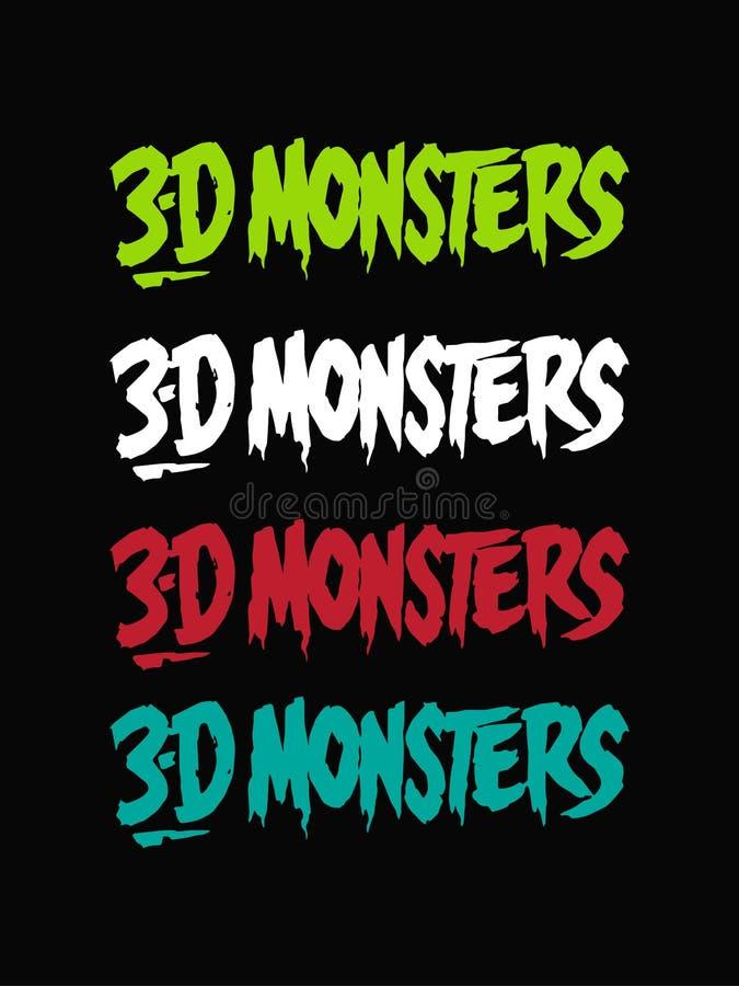 progettazione del testo della fonte di orrore dei mostri 3D Disegno di vettore Isolato su priorit? bassa nera illustrazione di stock