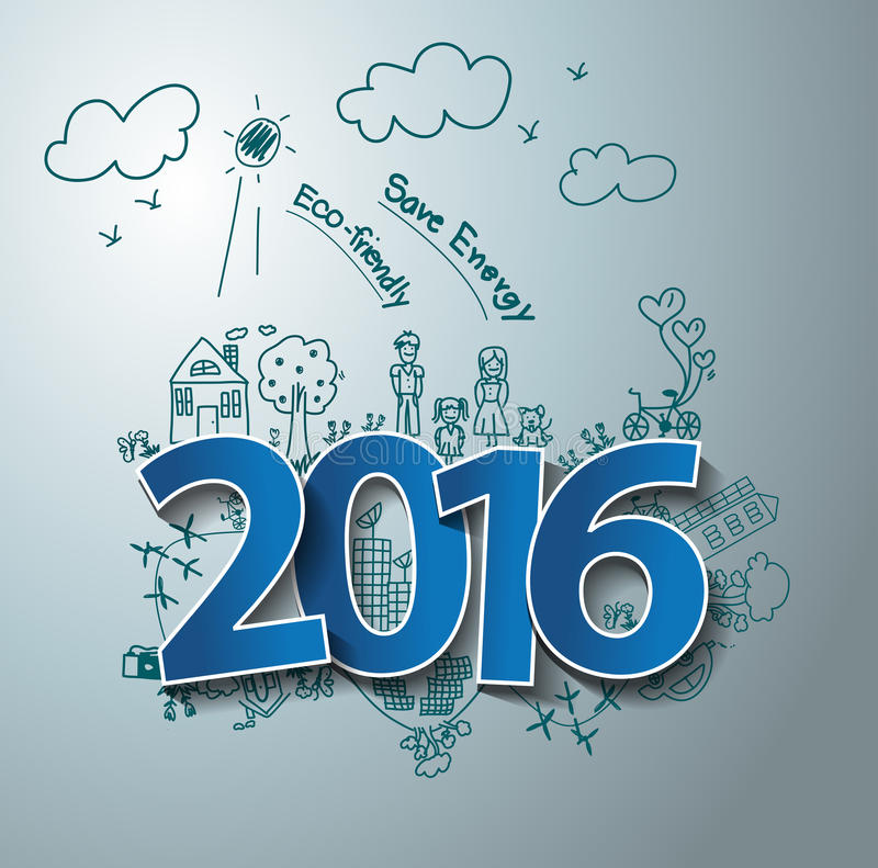 Progettazione del testo di vettore 2016 sul eco del disegno amichevole e sull'energia di risparmi illustrazione di stock