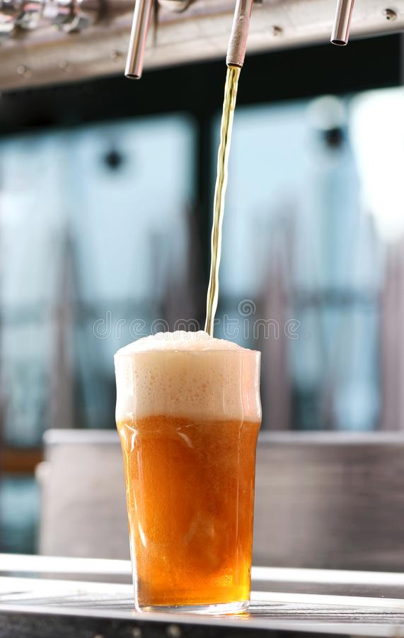 Progettazione del vetro di birra da un rubinetto in un pub fotografie stock libere da diritti