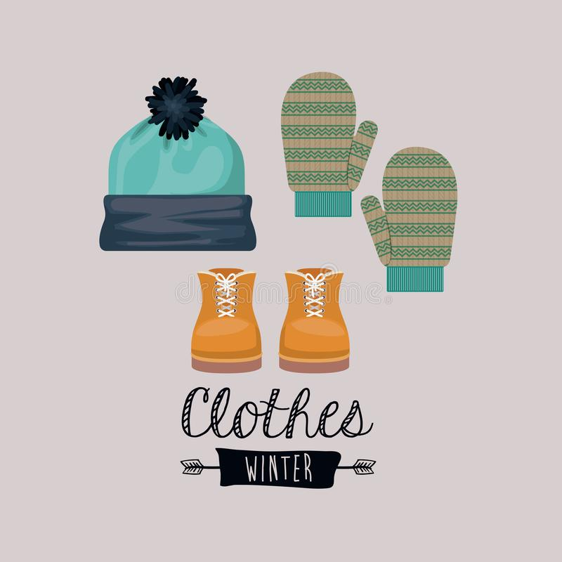 Progettazione dell'abbigliamento di inverno illustrazione di stock