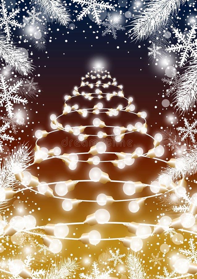 Progettazione dell'albero di Natale della lampadina con le foglie e lo snowflak dell'abete illustrazione di stock
