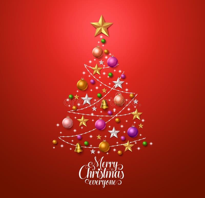 Alberi Di Natale Per Auguri.Progettazione Dell Albero Di Natale Per La Cartolina D Auguri Con Le Decorazioni Variopinte Di Natale Illustrazione Vettoriale Illustrazione Di Sfere Scheda 78487415