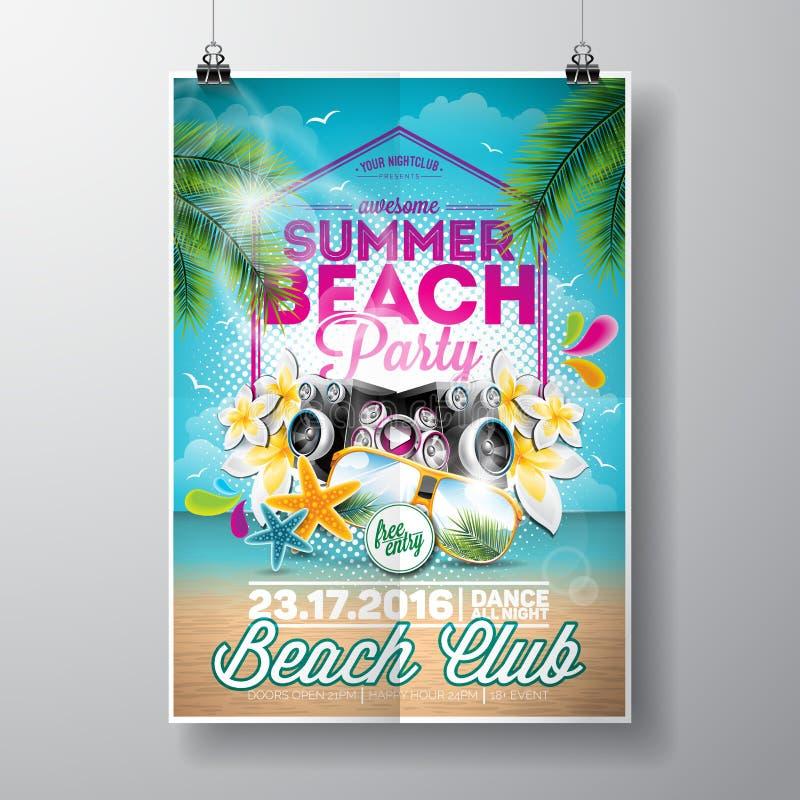 Progettazione dell'aletta di filatoio del partito della spiaggia di estate di vettore con gli elementi tipografici royalty illustrazione gratis