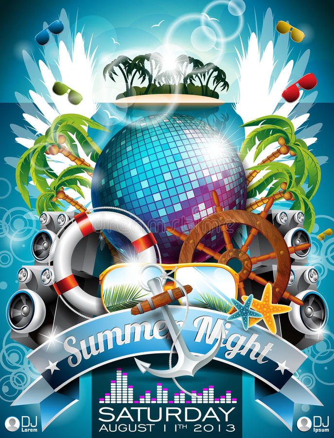 Progettazione dell'aletta di filatoio del partito della spiaggia di estate di vettore con la palla della discoteca illustrazione vettoriale