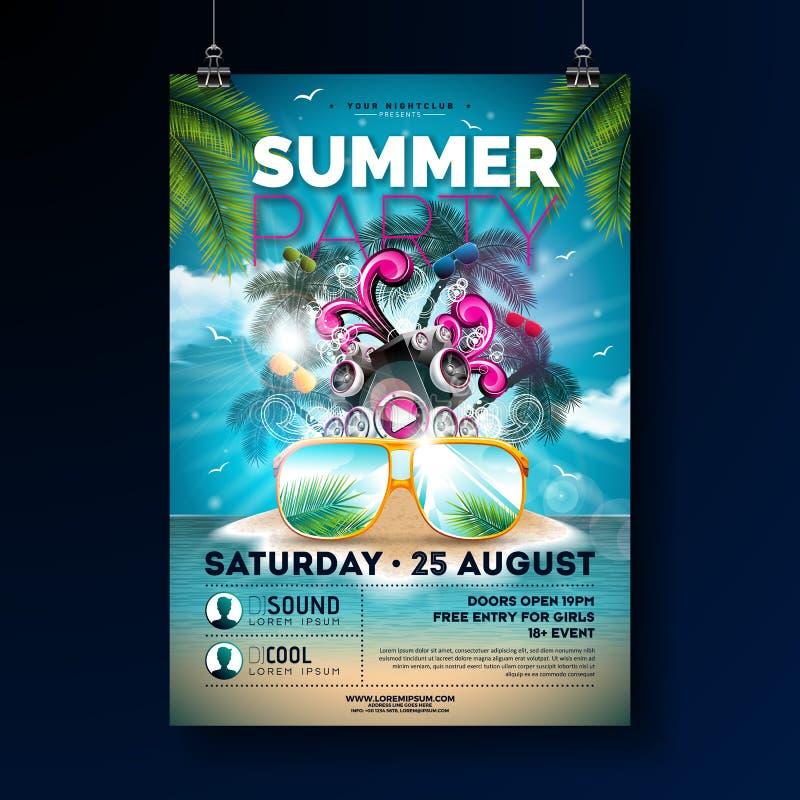 Progettazione dell'aletta di filatoio del partito della spiaggia di estate con i vetri del fiore, del beach ball e di sole Elemen illustrazione vettoriale
