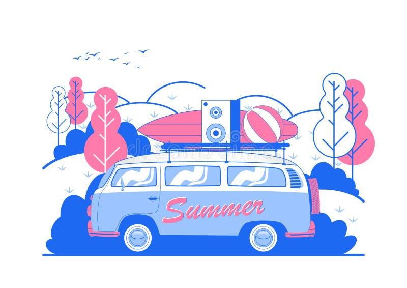 Progettazione dell'aletta di filatoio del partito della spiaggia di estate di vettore con il bordo del furgone e di spuma di viag royalty illustrazione gratis