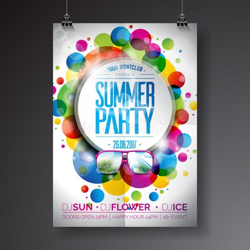 Progettazione dell'aletta di filatoio del partito di estate di vettore con progettazione tipografica sul fondo astratto dei cerch illustrazione di stock