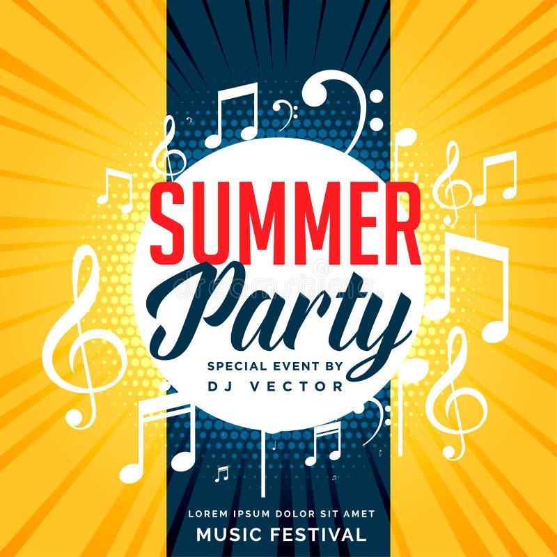 Progettazione dell'aletta di filatoio del partito di estate con le note di musica royalty illustrazione gratis