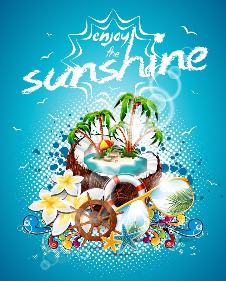 Progettazione dell'aletta di filatoio di vacanza estiva di vettore con la noce di cocco e l'isola di paradiso. illustrazione vettoriale