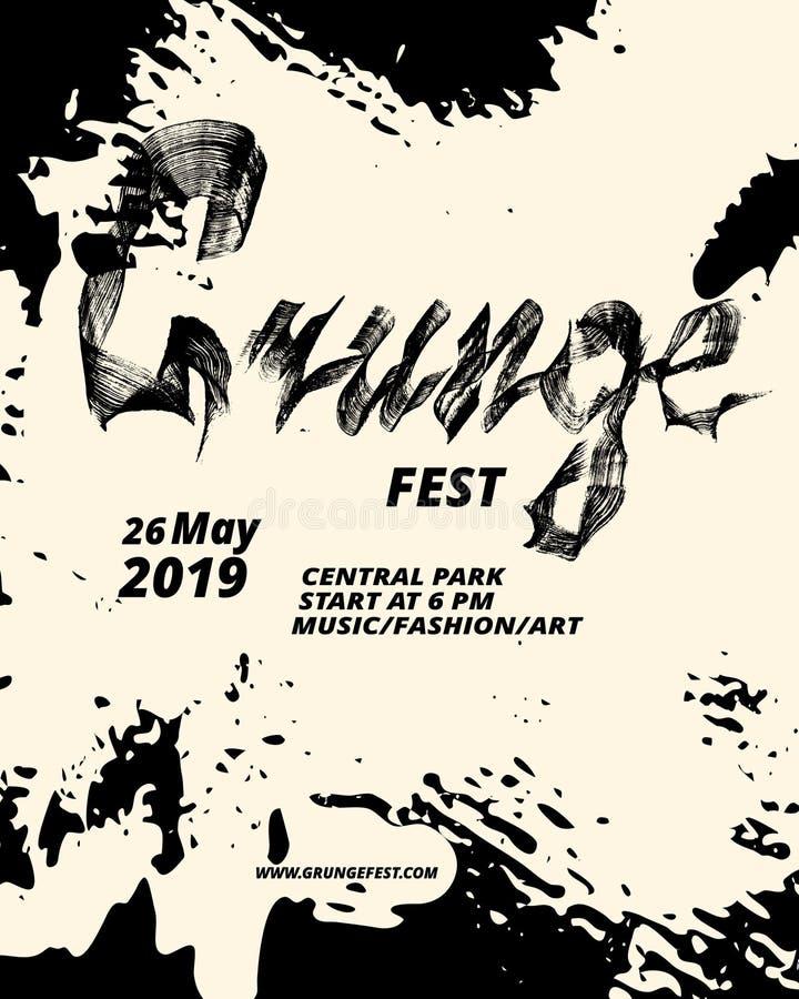 Progettazione dell'aletta di filatoio di festival di lerciume Spazzola piana di calligrafia Struttura di Grunge royalty illustrazione gratis