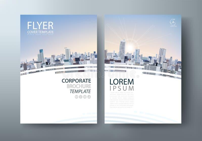 Progettazione dell'aletta di filatoio, immagine del paesaggio della città Presentazione della copertura dell'opuscolo, vettore de illustrazione vettoriale