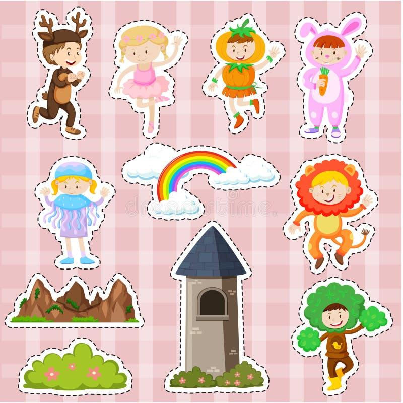 Progettazione dell'autoadesivo con i bambini nelle scene della fase e del costume royalty illustrazione gratis