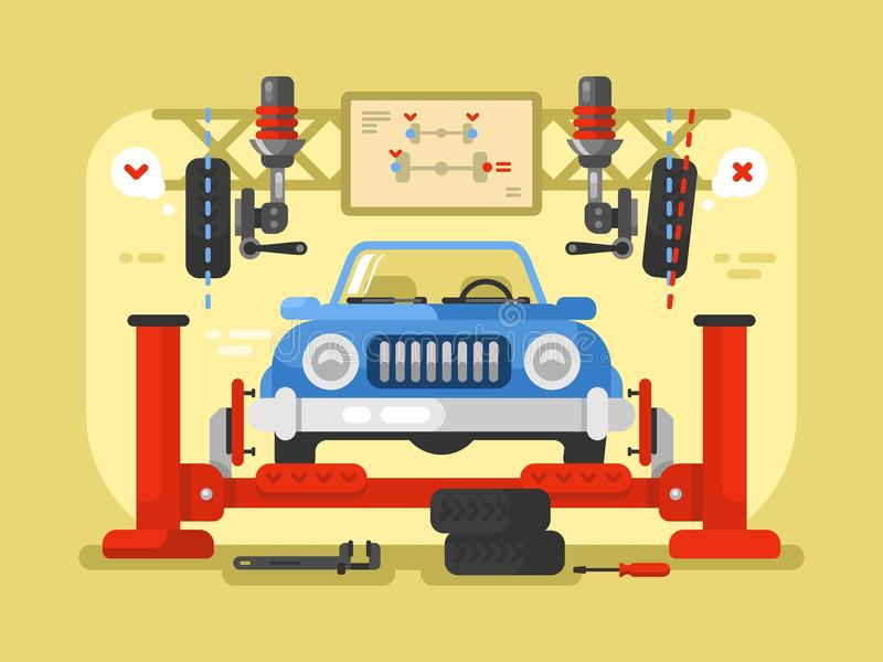 Progettazione dell'automobile della sospensione piana royalty illustrazione gratis