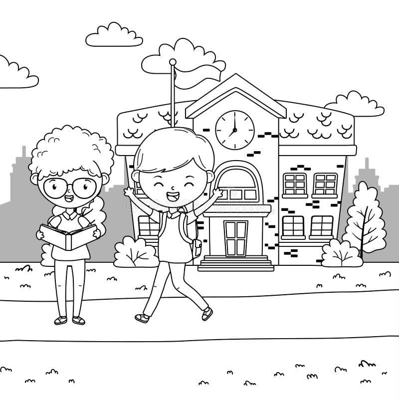Progettazione dell'edificio scolastico e dei ragazzi royalty illustrazione gratis