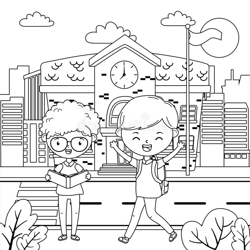 Progettazione dell'edificio scolastico e dei ragazzi illustrazione di stock