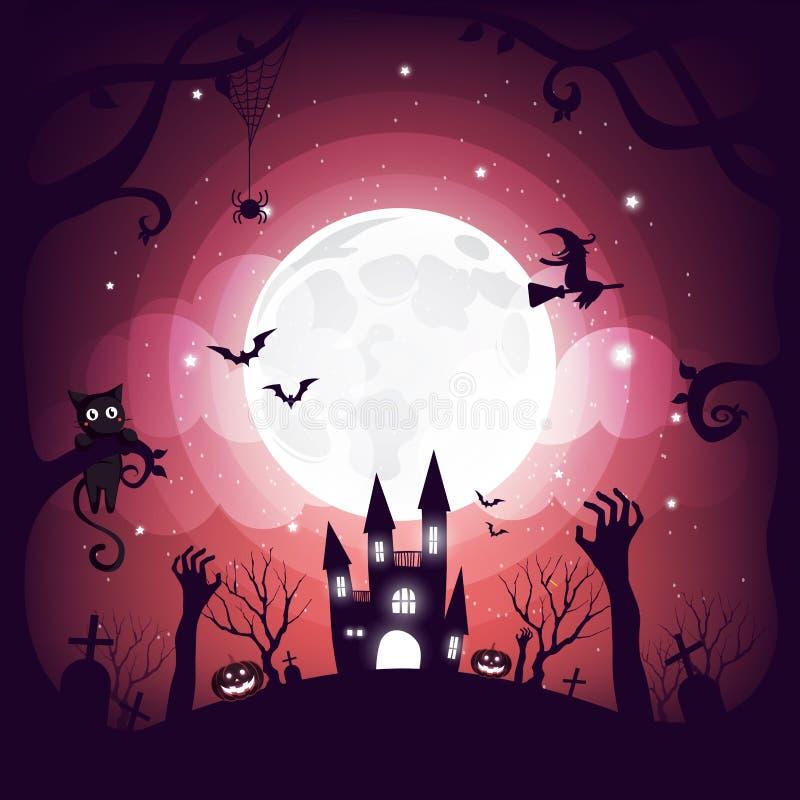 Progettazione dell'elemento di Halloween sul fondo della luna piena con lo spazio della copia, concetto di scherzetto o dolcetto, illustrazione vettoriale