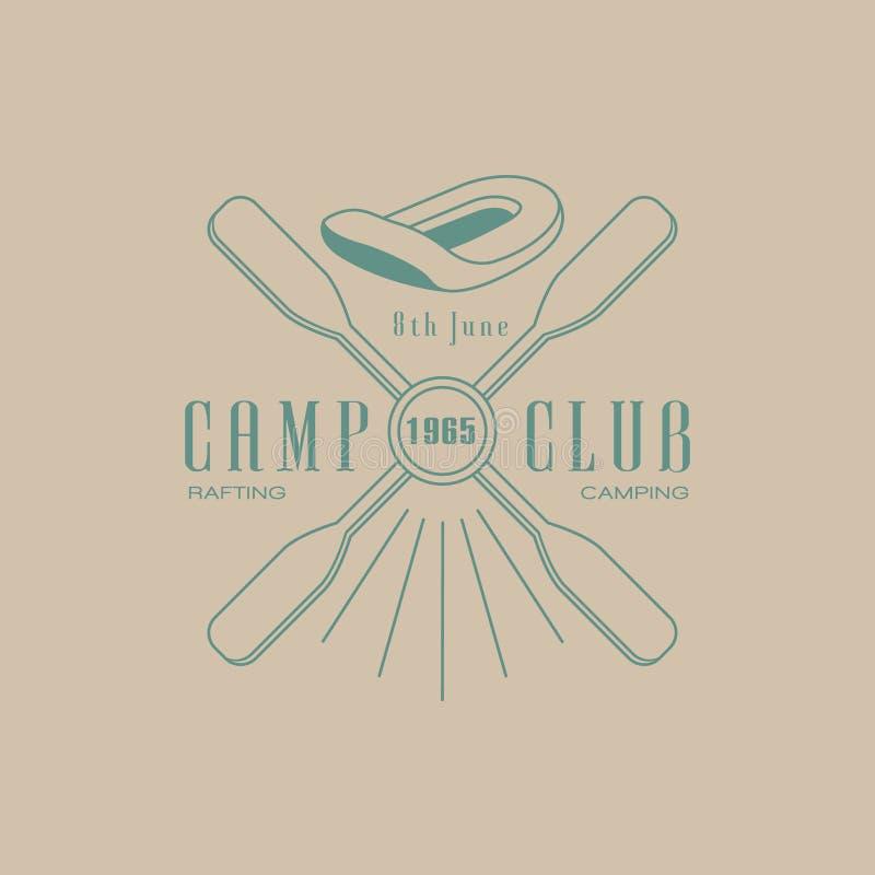 Progettazione dell'emblema del club del campo di rafting illustrazione di stock