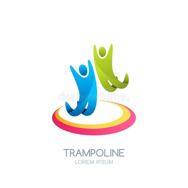Progettazione dell'emblema di logo del trampolino di vettore Gente o bambini di salto sul trampolino Scherza l'attività, il parco royalty illustrazione gratis
