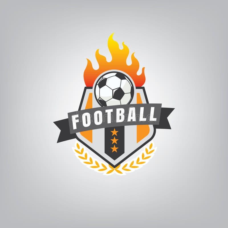 Progettazione dell'emblema di logo di calcio, illustrazione di vettore illustrazione vettoriale