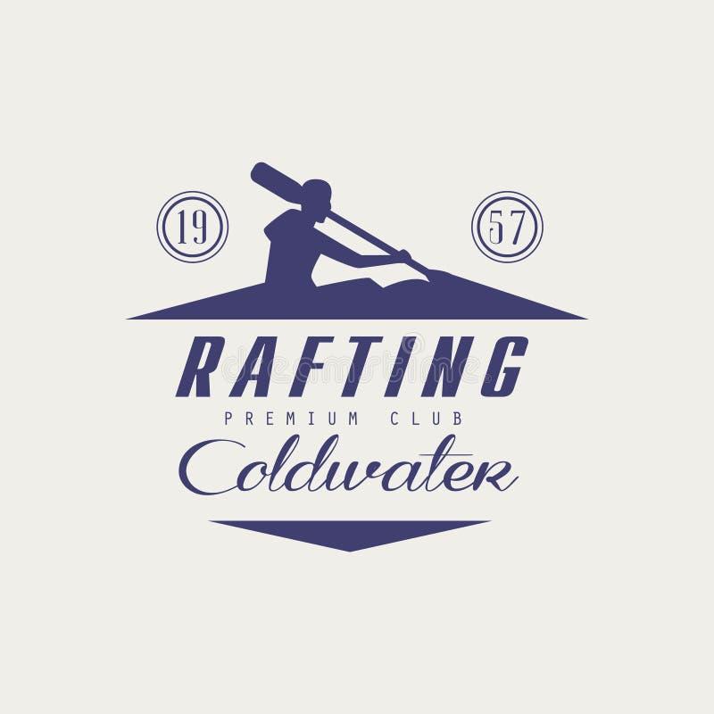 Progettazione dell'emblema di rafting di Coldwater illustrazione di stock