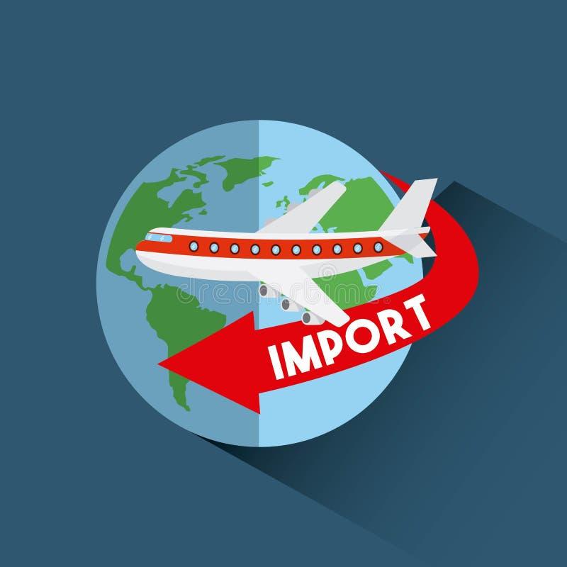Progettazione dell'esportazione e dell'importazione illustrazione di stock