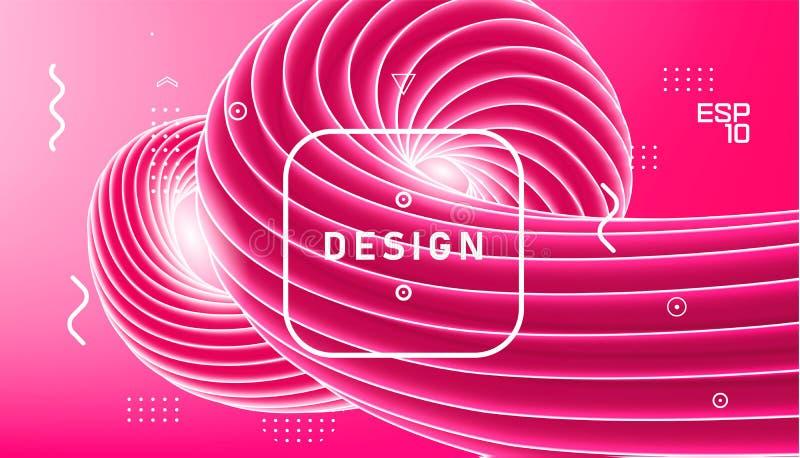 Progettazione dell'estratto di vettore, fondo minimo ondulato di pendenza Onda rosa di plastica liquida d'avanguardia 3d Turbinio illustrazione vettoriale