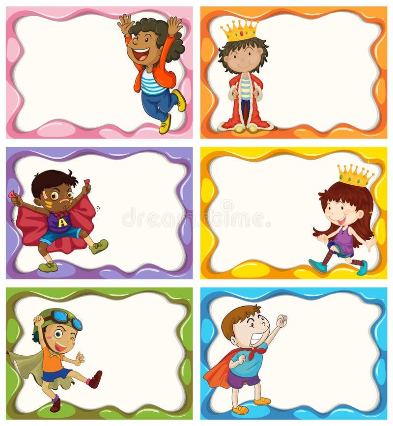 Progettazione dell'etichetta con i ragazzi in costumi illustrazione di stock