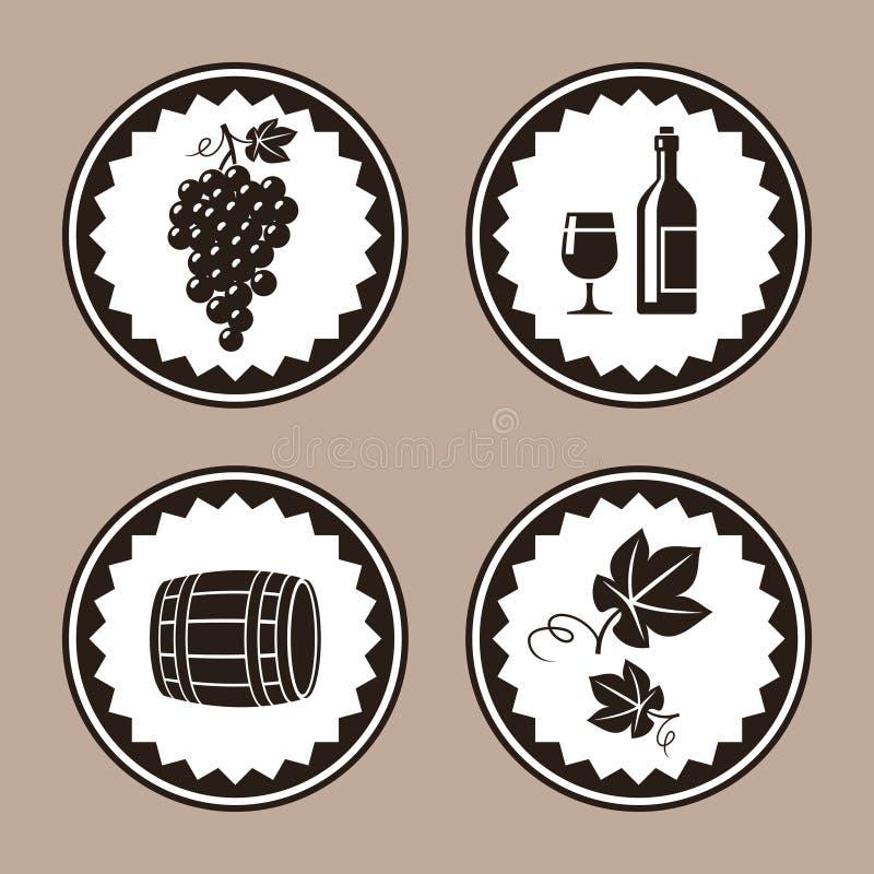 Progettazione dell'etichetta del vino con le icone del barilotto e dell'uva illustrazione di stock
