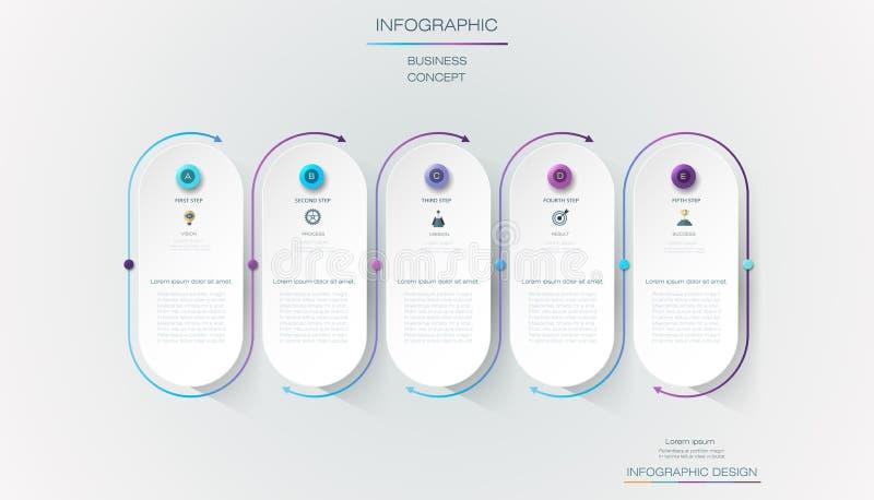 Progettazione dell'etichetta di Infographic di vettore con le icone e 5 opzioni o punti Infographics per il concetto di affari royalty illustrazione gratis