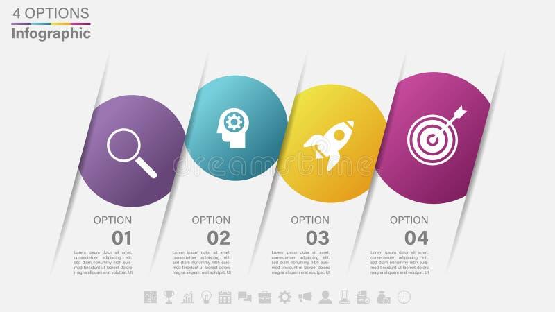 Progettazione dell'etichetta di Infographic di vettore con 4 opzioni o punti illustrazione di stock
