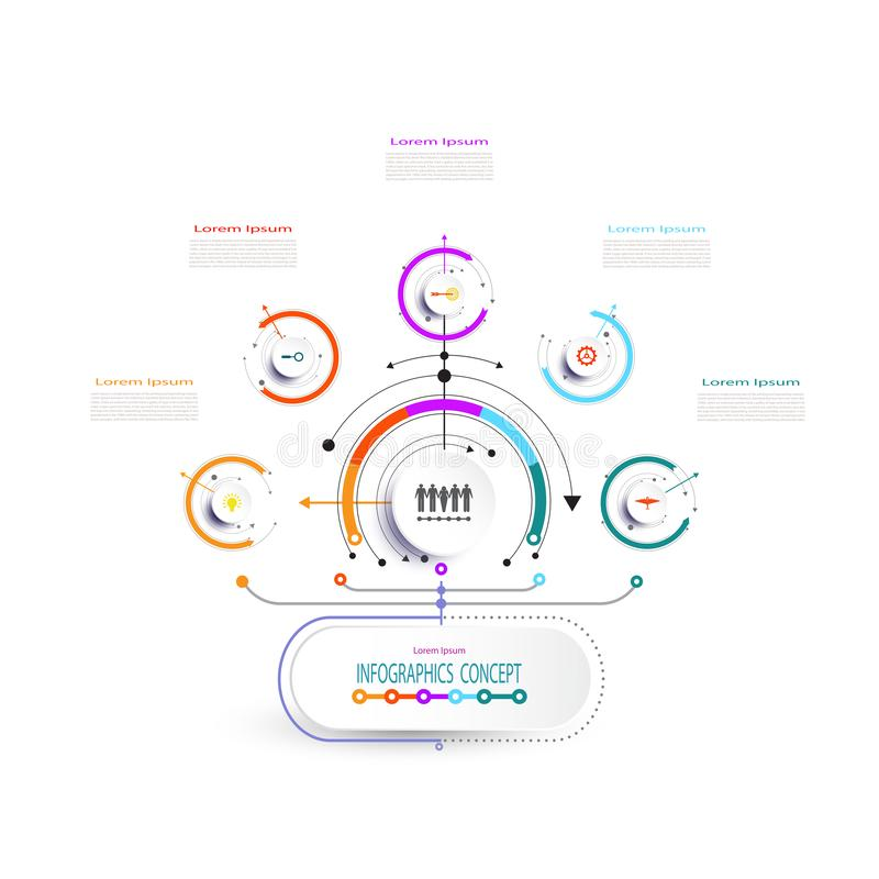 Progettazione dell'etichetta di infographics di vettore con le icone e 5 opzioni illustrazione vettoriale