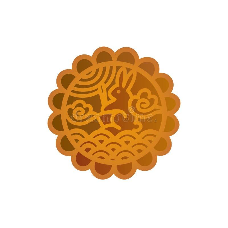 Progettazione dell'icona del Mooncake Simbolo cinese di festival di Mezzo autunno con un coniglio lunare illustrazione vettoriale